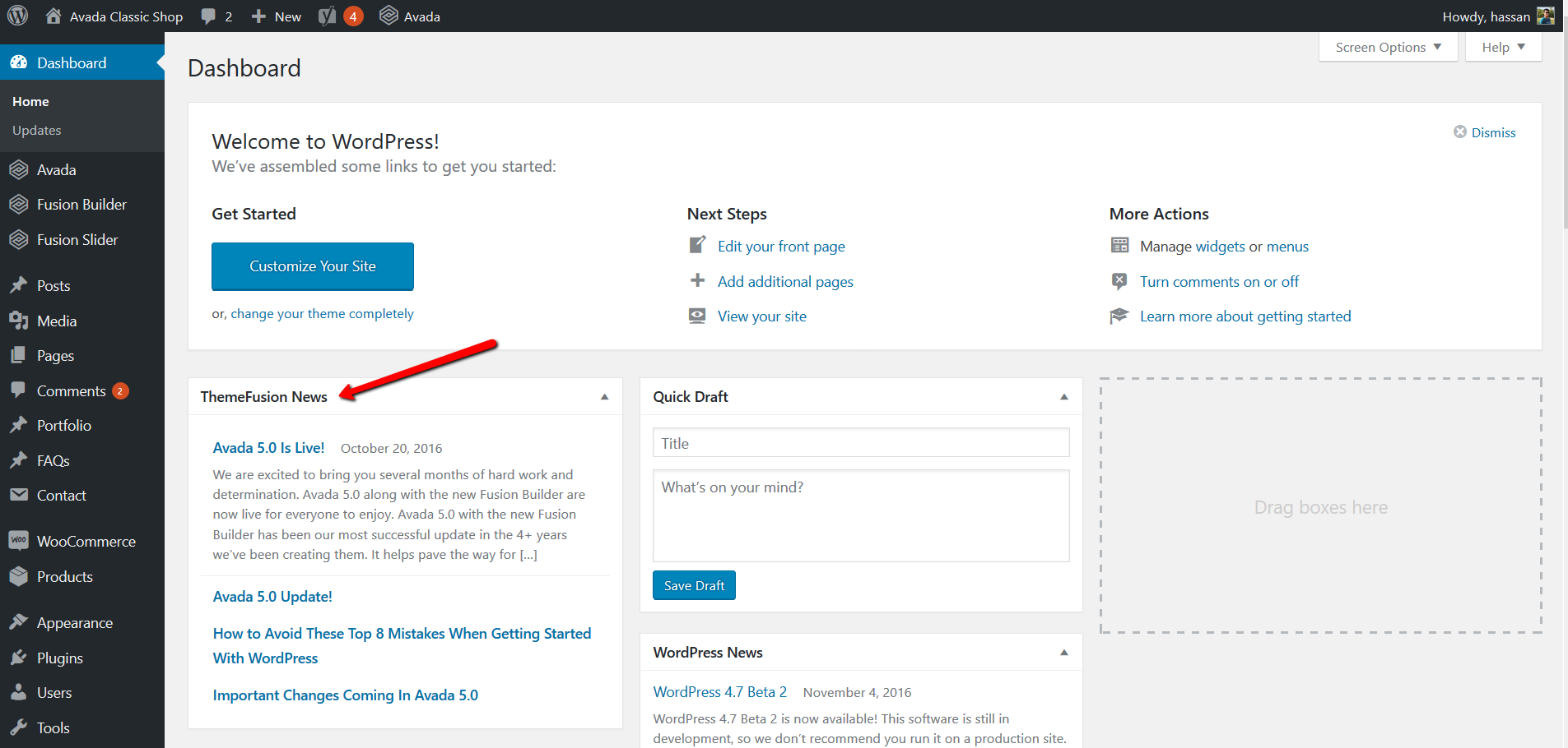 How to remove Theme Fusion News Widget from WordPress Dashboard ...